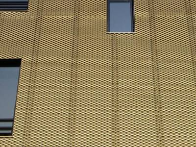 Golden color decorative expanded metal mesh as the wall cladding on the exterior of building.
