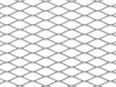 A raised diamond hole expanded metal mesh on the white background.