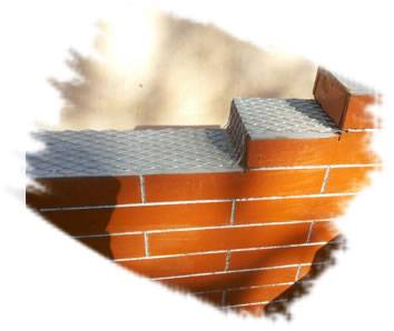 A piece of brick mesh is tiling on the bricks.
