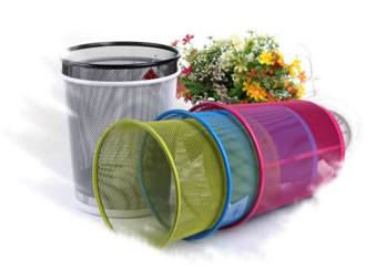 Five different colors expanded metal wastebaskets on the white background.