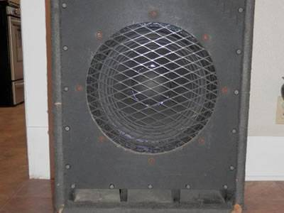 A piece of round shape expanded metal speaker grill covering the loudspeaker.