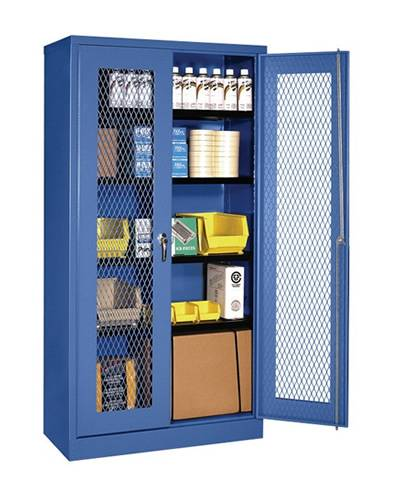A blue storage cabinet on the white background with several goods in it and expanded metal gate.
