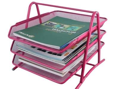 A pink three-tray desk tray on white background.