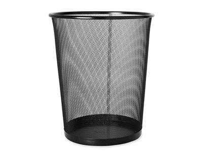 A black round expanded wastebasket on the white background.