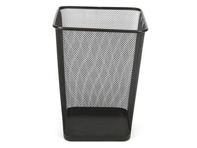 A Black Square Expanded Metal Wastebasket On The White Background.