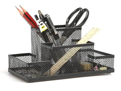 A black writing instruments collection on the white background with several tools in it.
